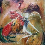 Стегэреску Тудор 80х90 холст/масло 2017год Петух и Ангел