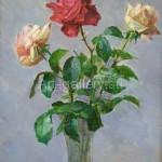 "Бугорков С. С. 40х56 х/м 2008г. ""Розы""  95$"