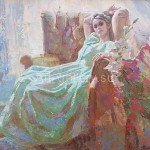 """Назаров Глеб  32х41 к/м 2002г. """" Девушка и цветы"""" 35$"""