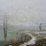"""Стегэреску Т. И. 50,5х65 х/м 2010г. """"Весенний туман""""  Находится в частной коллекции"""