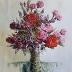 Стегэреску Тудор Ион х/м 60х70 *розы на белом* 2018 год