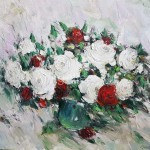 Стегэреску Фёдор Иванович х/м, 60х70 *красные и белые розы* 2018год