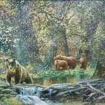 """Панич В.И. 48х68 х/м 2013г. """"Медвежья семья""""  215$"""