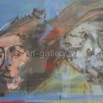 """A. I. Korneev 32х47 cardboard/oil """"Two"""" for$60"""