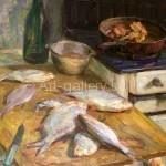 Фулиди Д.Г. х/масло *натюрморт со свежей рыбой и газовой печью* 1980год 1000$