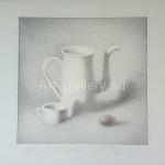 "Bezugly Oleg Nikolaevich. 30x30.5 ink/pen/paper, 2011. ""Bright still life"" 20$"