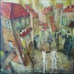 "Poberezhnyi Oleg 65х65 oil on canvas ""Western town"" 145$"