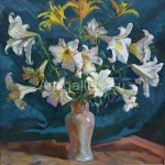 "Bugorkov Sergey Stepanovich. 60х58 H. M. 2012 ""Lilies"" for$60"