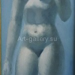 "Yakovlev, Alexander 33х20 cardboard/oil 2001 ""Blue Nude"" of$50"