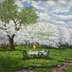 "Vladimir Chikov 50 × 80 oil on canvas 2013. ""The cherry orchard"" 140$"