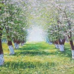 "Vladimir Chikov 50х75 oil on canvas, 2013. ""Apple orchard"" 140$"