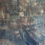 "Astashova M. 48.5х68 cardboard/ink/pencil ""Atmosphere of the evening city"" in 2014. 50$"