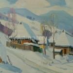 """Сапатюк М.М. 50х35 орг/м 1990 г. """"Зима в Карпатах"""" 1200$"""