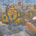 """Петрашевский С. В. 60х50 к/м 1976 г. """"Жёлтый дом в Седневе"""" 720$"""